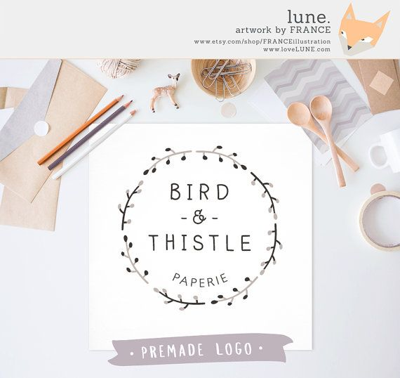 Premade Logo: Simple Wreath. Customizable by FRANCEillustration