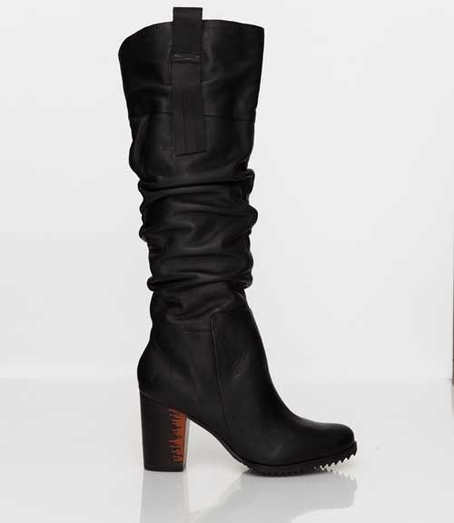 Skin by FINSK AW13: 480-00 BLACK ruched leather cowboy style boot from Skin By FINSK