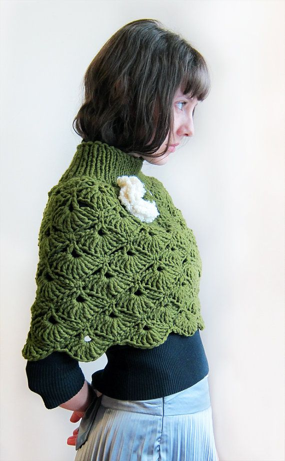 Hand crochet   Capelet  in green for a Lady. by Benivision on Etsy, $65.00