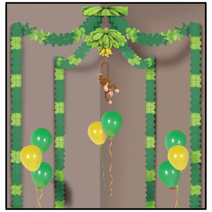 Jungle Monkey Party Canopy Includes (4) - 12' paper garlands and (1) - Banana and Monkey decoration that are attached to canopy. Weight (lbs) 0.51 Length (inches) 12.75 Width (inches) 9 Height(inches)