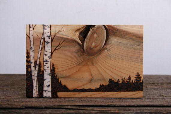 Setting Sun  Art Block  Wood burning Art by TwigsandBlossoms