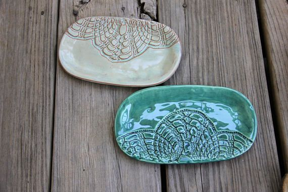 Jabonera de cerámica impresión de encaje cerámica hecha a
