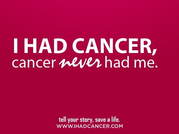 I HAD CANCER, CANCER NEVER HAD ME. #cancersurvivorsday. Spread this message of strength around by Liking, sharing, tweeting, etc. in honor of all the surrvivors!