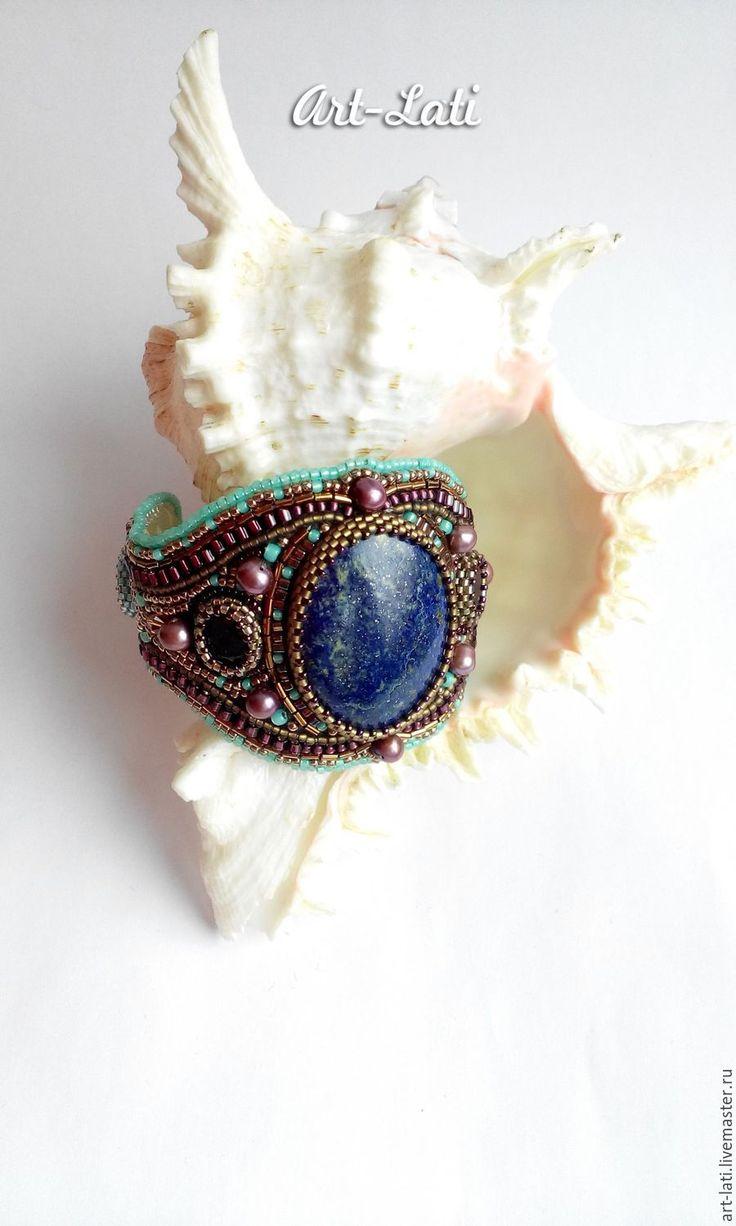 """Купить Браслет """"Восточная сказка"""" - разноцветный, бирюзовый, синий, фиолетовый, латунь, драгоценные камни"""