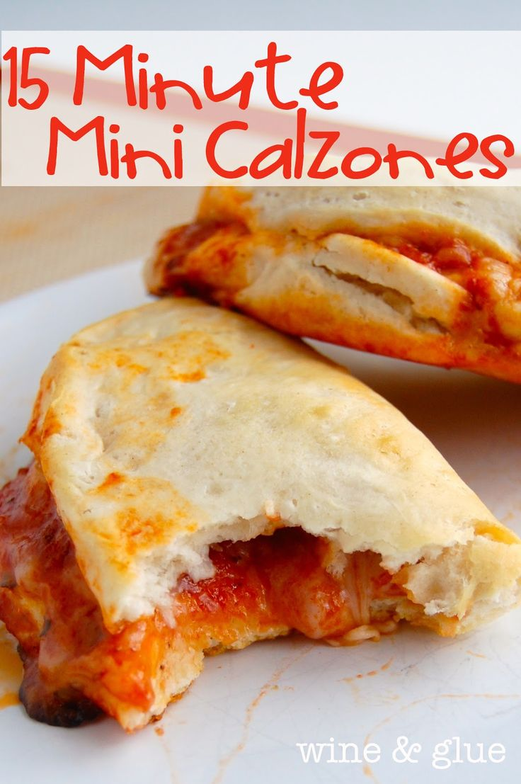 15 Minute Mini Calzones Preheat your oven to 350 degrees. Pop open your biscuits, spread out the biscuits so they are thinner. Add sauce, cheese, and toppings. Fold over, and pinch closed and bake on a greased baking sheet for 12 minutes or until golden. So good and easy!! :)