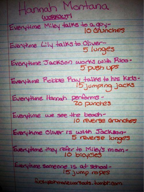 Hannah Montana workout! LOVE!