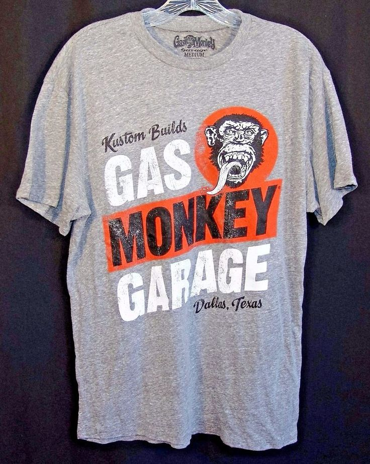 Gas Monkey Garage Kustom Builds Dallas Texas Gray T-Shirt Size Medium #GasMonkeyGarage #GraphicTee