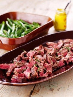 Steak slice with lemon and thyme - Whack in some asparagus gives a tasty no carb dinner #nigella