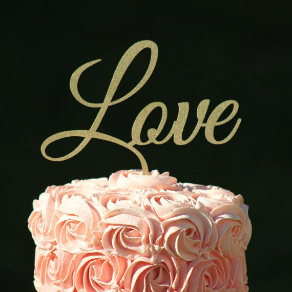 Gold LOVE Wedding Cake topper  Wooden cake topper  by WeddingPros