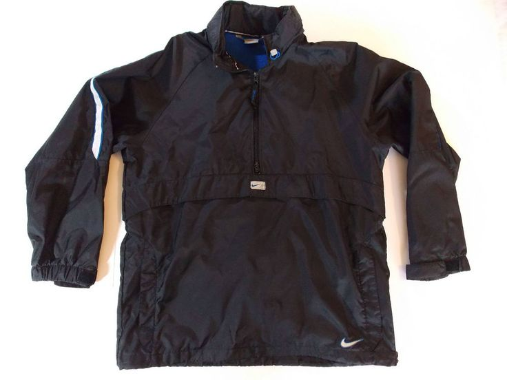 Medium Mens Nike Black Pullover Nylon Jacket Coat Light Wind Rain T1 #Nike #BasicJacket