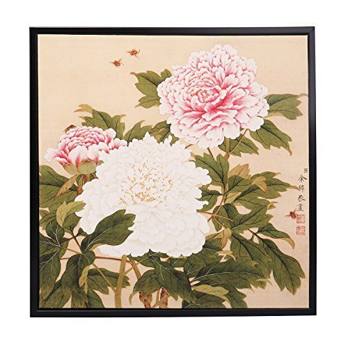 INK WASH Modern Traditional Asian Wall Art Pink White Chinese Peony Painting Flowers Painting Fine Art Prints Paintings for Home Office Decoration Framed Ready to Hang 13″x13″