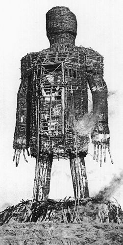 A wicker man was a large wicker statue of a human allegedly used by the ancient Druids (priests of Celtic paganism) for human sacrifice by burning it in effigy.