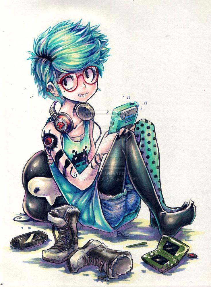 untitled - gamer girl by *Pyromaniac on deviantART