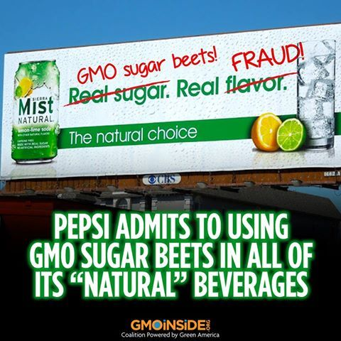 """Pepsi Admits To Using GMO Sugar Beets In All Of Its """"Natural"""" Beverages.....no more seira mist for me!!"""