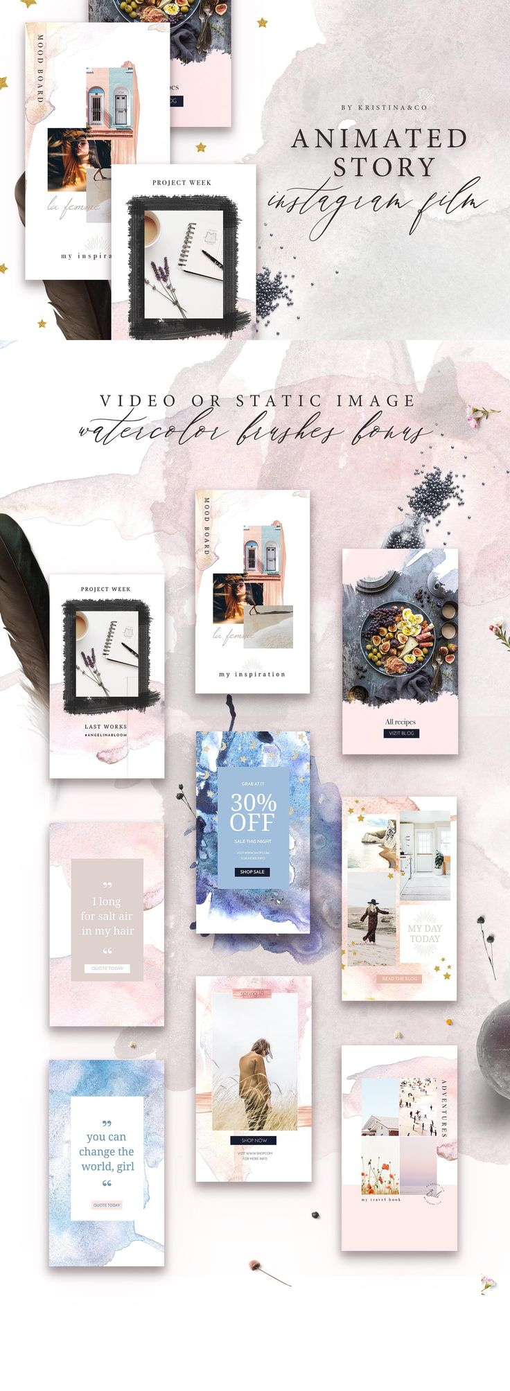 Animated Stories For instagram by Kristina&Co on @creativemarket #AD