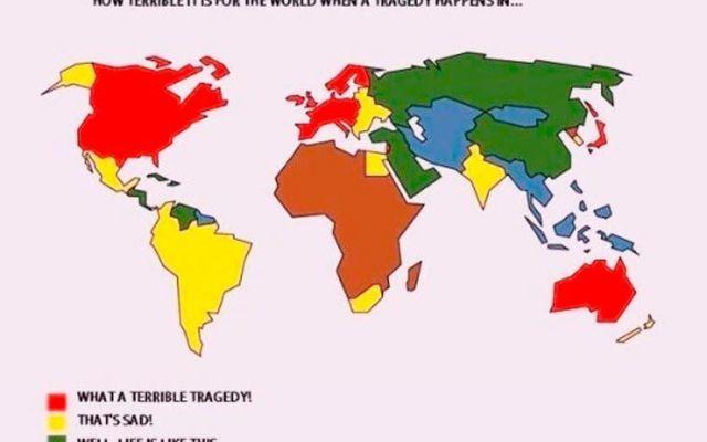 Quando una tragedia accade... un cinica mappa del mondo ci dice quanto ce ne frega. Cinica, forte e un pelino bastarda, questa immagine del disegnatore messicano Eduardo Salles ci mostra come sia terribile per varie regioni del mondo quando accade una tragedia. Per chi non parla in #umorismo #mappa #tragedia #ironia