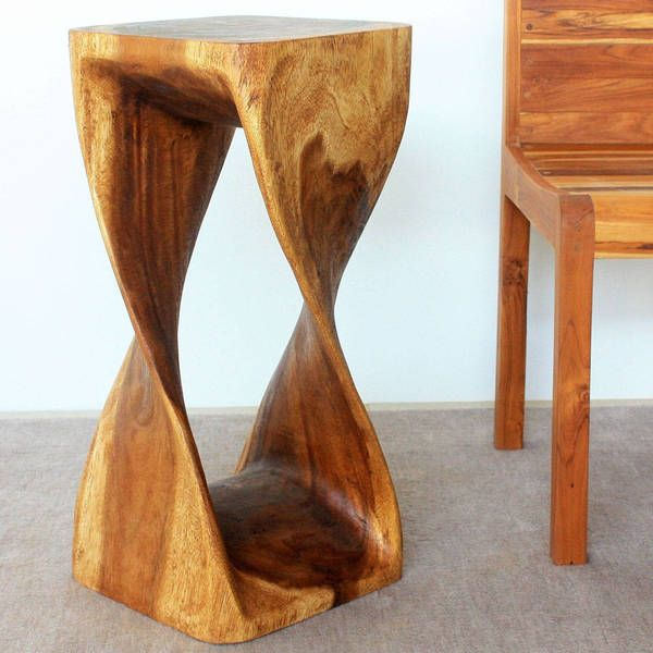 Handmade 12 Inches Square X 26 Inch Monkey Pod Wood Twist Walnut Oil End Table Thailand Monkey Pod Wood Unique Modern Furniture Organic Furniture