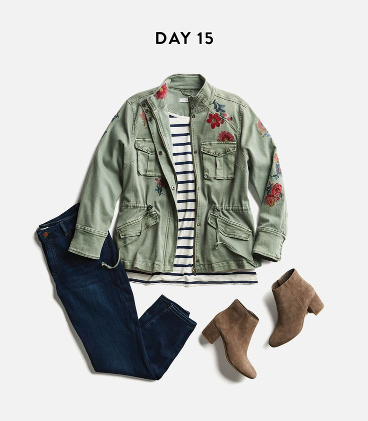 This is the perfect outfit.  Super dark denim, slightly nautical stripes, and embroidered denim (or canvas?) with that feminine/masculine push-pull going on between silhouette and embroidery.  A++++++