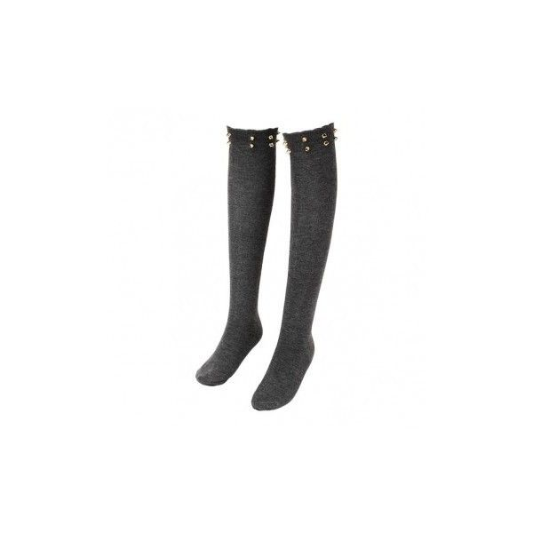 Ladies Stockings Over The Knee Solid Thigh High Cotton Cool Rivet... ($4.85) ❤ liked on Polyvore featuring intimates, hosiery, socks, black, cotton socks, long socks, over-the-knee socks, cotton over the knee socks and thigh high hosiery