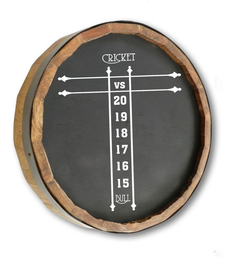 """Dart Scoreboard - Quarter Barrel Chalk Board Sign   Quarter Barrel Sign 19"""" Diameter Can be written on with stick chalk or dry erase Hand painted Hanger on back for easy door or wall mounting Handcrafted in the USA"""