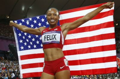 Allyson Felix, or, 200 m, JO 2012. (Reuters)