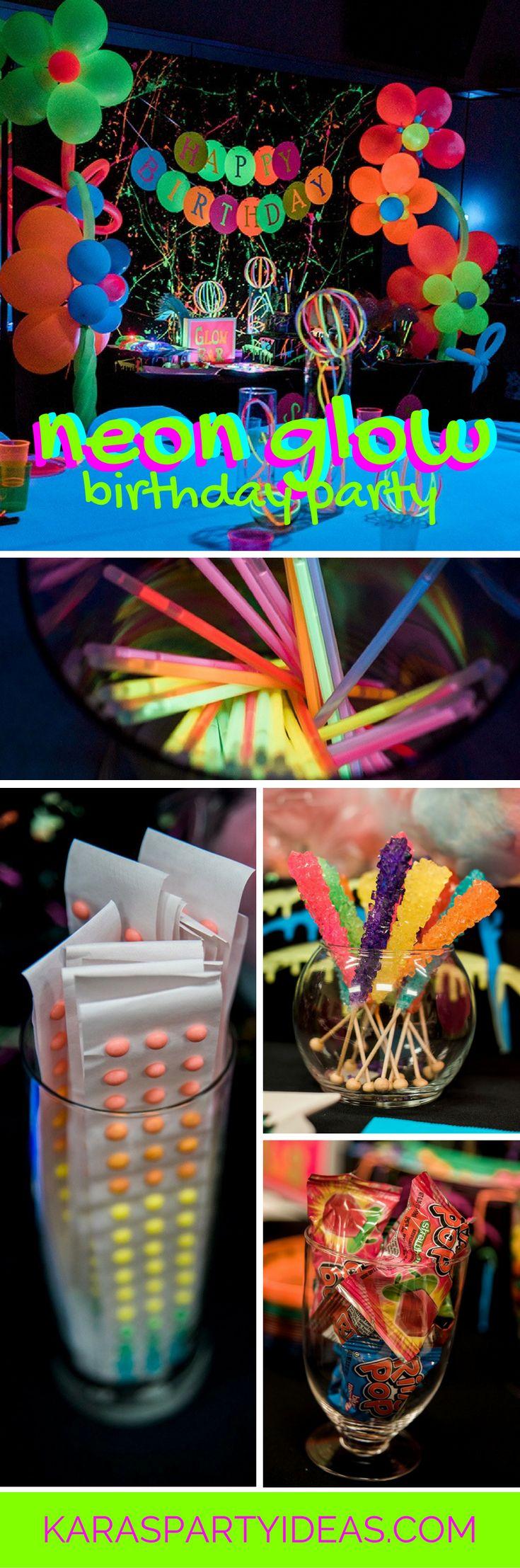 Neon Glow Birthday Party via Kara's Party Ideas | KarasPartyIdeas.com