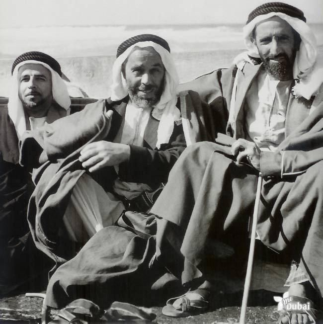 Dubai Business Tycoons in a Casual Meeting 1950s. UAE did not exist then, it was part of Trucial States of the Coast of Oman until 1971.the business Tycoon on the right ( Sheikh Rashid Al Maktoom) who was the Sheikh n ruler of Dubai,he was the father of Shiekh Mohamed who built Dubai n put Dubai on the World map.Today Dubai is the fastest growing city in the world.