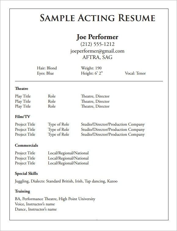 Awesome Performing Resume Template Gallery Acting Resume Resume