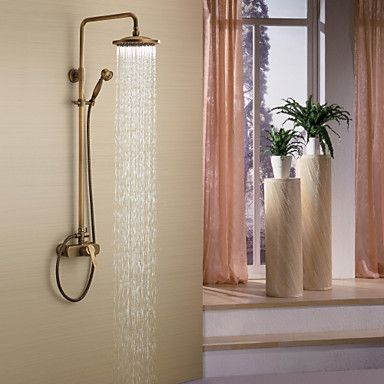 Antique Brass Tub Shower Faucet with 8 inch Shower Head + Hand Shower – USD $ 141.94