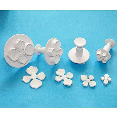 quatre c coupeurs hortensia fondant décoration de gâteaux de piston, coupe de l'art du sucre, des outils de conception de gâteau - EUR € 4.99