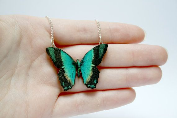 This gave me the butterflies! Miniature Wooden Butterfly Necklace by ladybirdlikes on Etsy, £6.00