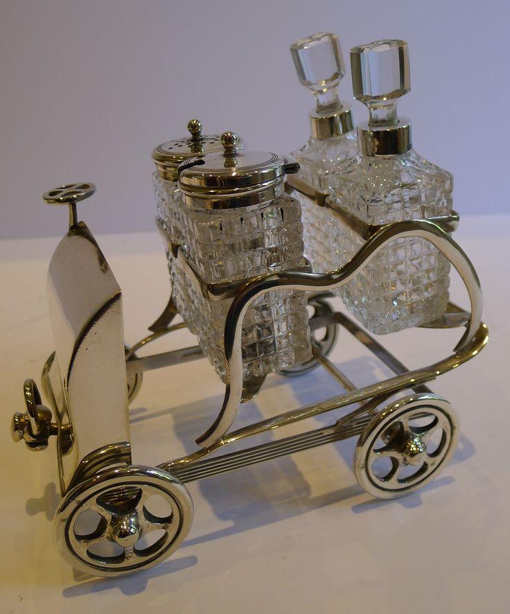 RARE Antique English Novelty Silver Plated Cruet or Condiment Set Car. ca.1900.