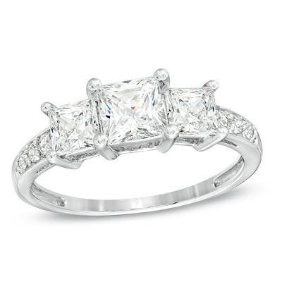 Princess-Cut Lab-Created White Sapphire Three Stone Ring in 10K White Gold