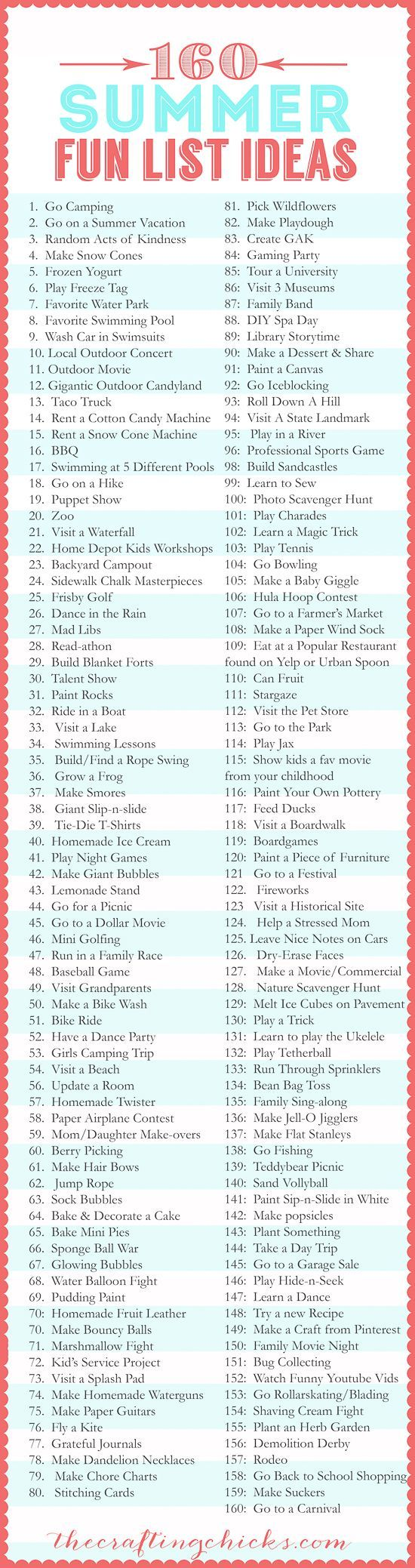 160 Activities to do with your Kids and Family this Summer - Kids Crafts - Kids Activities - Boredom Busters
