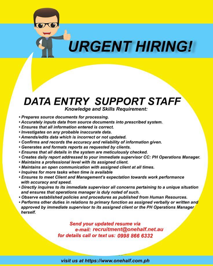 Urgent Hiring Data Entry Support Staff OneHalf Staffing