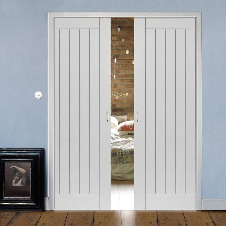 Double Pocket Savoy White sliding door system in three size widths. #pocketdoors #pocketdoorpair & 77 best Flush Pocket Door Pairs images on Pinterest | Pocket doors ... pezcame.com