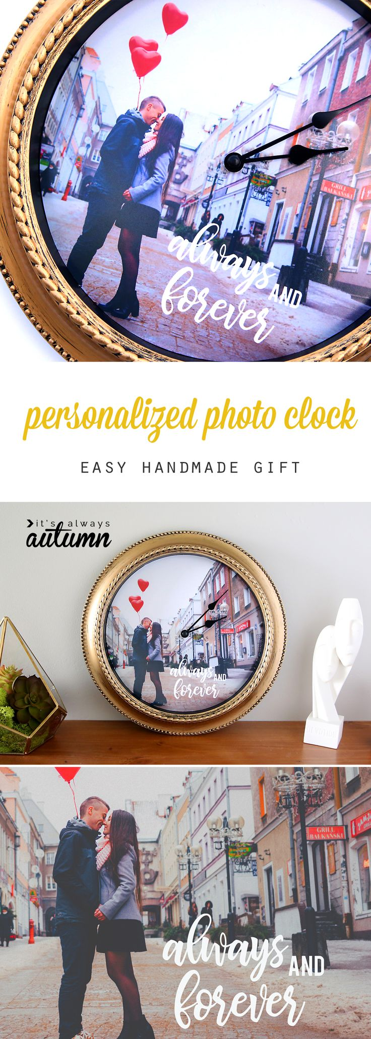 How to make a personalized photo clock. Great DIY gift idea for Mother's Day, Father's Day, weddings, anniversary, and more! Easy photo gift idea. #ad
