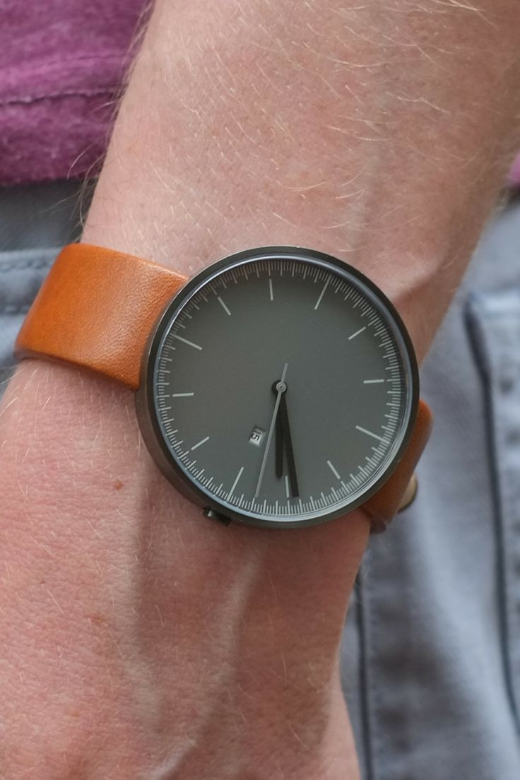 Uniform Wares 200 Series gun grey & tan leather strap
