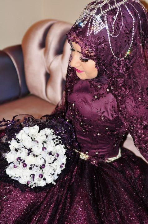Bride in plum.