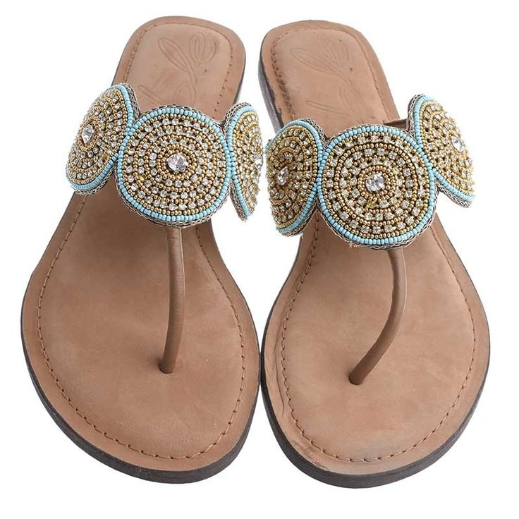 LEATHER SANDAL-BLUE-GOLD COLOR - Sandals