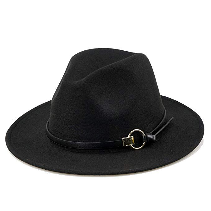 4da018043 Women Black Fedora Hat Gold Stylish Belt Buckle Wool Felt Floppy ...