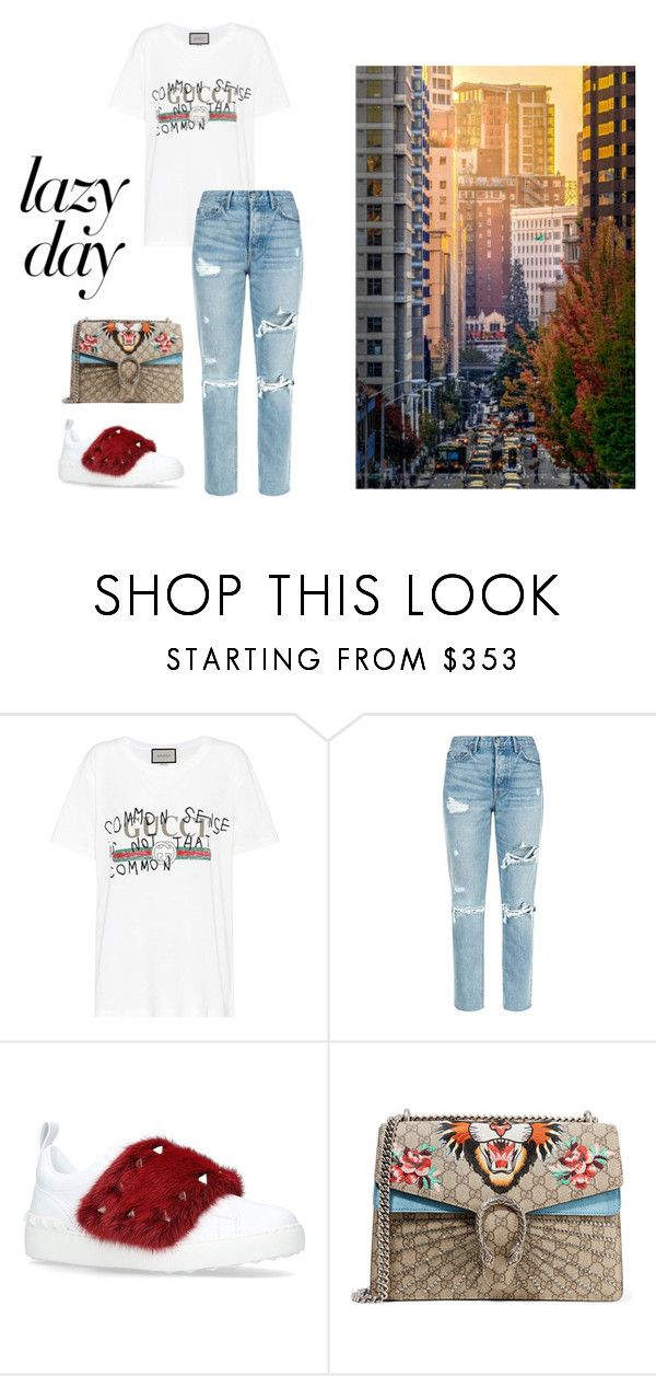 """""""LAZY DAY"""" by yasmingarcia99 on Polyvore featuring Gucci, GRLFRND and Valentino"""