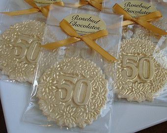 vanilla white chocolate number fiftieth fifty birthday party favors gold dust anniversary candy
