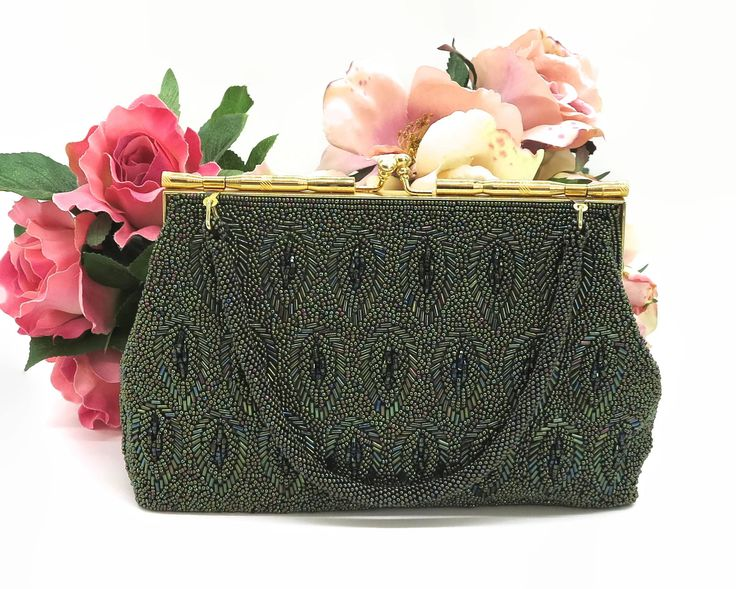 Green beaded handbag with iridescent green beads in different shades in pattern of leaves, beaded handle, gold metal frame, kiss lock, 1960s by CardCurios on Etsy