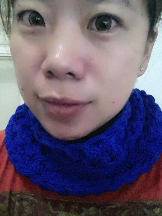 My new infinity scarf using hairpin lace...