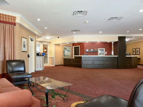A view of our lobby upon entry to the Ramada.  Our indoor pool is located to the immediate left, and IHOP entrance is to the left of the Front Desk.  Our Front Desk staff are more than happy to help you out with any questions you may have about our property or the surrounding area.
