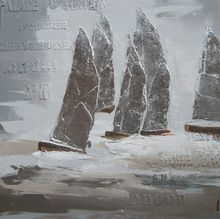 Moderne Abstracte zeilboten Canvas Olieverf Handgemaakte kunst Ambachten Kunstwerk Designer Decor Muur Vierkante RAS84
