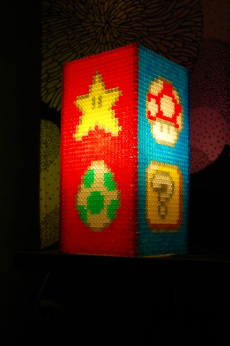 Lampara  Lamp Mario hama beads