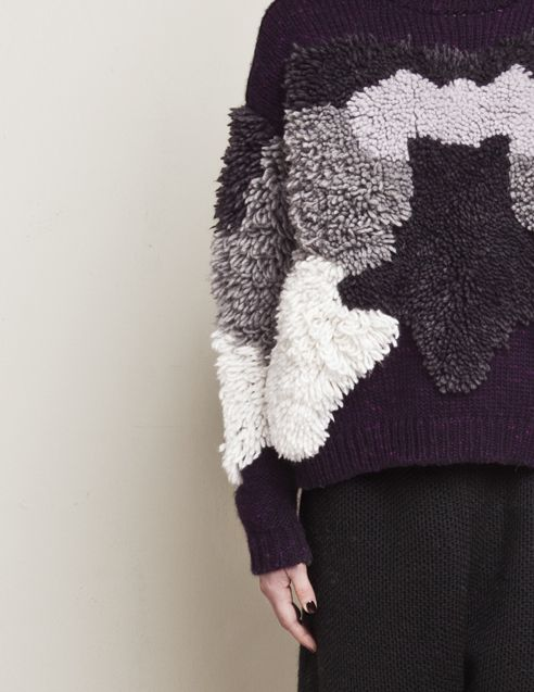 viviangraf: CHUNKY TUFTED SWEATER DETAIL AND TEXTURED PANTS FROM FW14