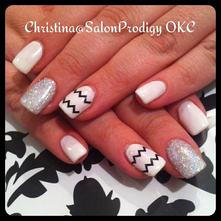 50 best nail designs by me images on pinterest nail designs black and white chevron nail art prinsesfo Images